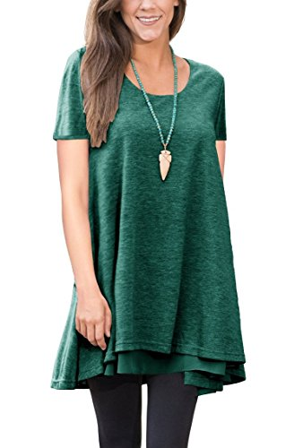 TDTE Women's Short Sleeve Loose Fit Flare Hem T Shirt Tunic Top (Cotton Short Sleeve Leggings)