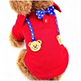 BiBaBoMax Summer Pet Vest for Cats Dog Shirt Sportive Dog Clothes (Red Bear - S)