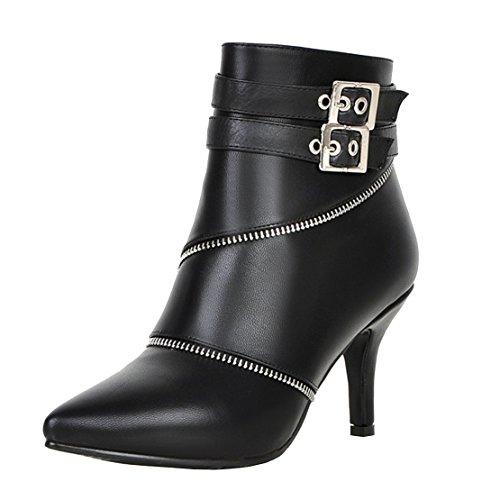 AIYOUMEI Damen Spitz Kleiner Absatz Stiletto Stiefeletten mit Reißverschluss und Scnalle Klassischer Stiefel JywXqEAgm