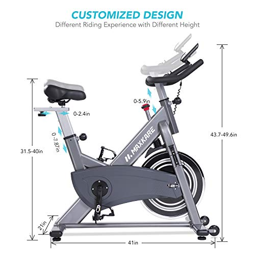 MaxKare Magnetic Exercise Bike Stationary Bike Belt Drive Indoor Cycling Bike Gym Level with High Weight Capacity Adjustable Magnetic Resistance w Tablet Holder LCD Monitor Gray