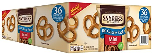 Snyder's of Hanover Pretzels, 100 Calorie Mini Pretzels, 0.92 oz (Pack of 36)