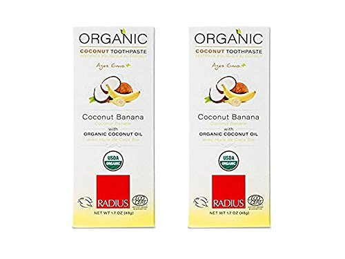 Set of 2 RADIUS - Organic Childrens Toothpaste, Safe for Babies and Gently Whitens Teeth, For Children 6 Months and Up (1.7 oz) bundled by Maven Gifts