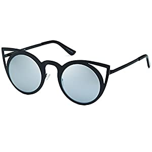 CATWALK Womens Cat Eye Metal Cut Out Fashion Frame Round Sunglasses with Mirror Flash Lens Option