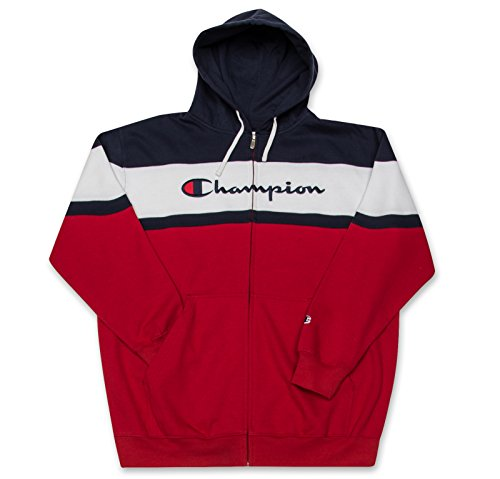 Champion Big and Tall Mens Color Block Full Zip Hoodie with Embroidered Logo Navy/Red/White 6X
