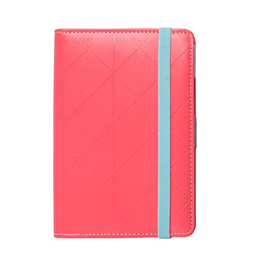 Labon's Binder Closure Refillable Writing Filofax Softcover Rhombic Banded Personal Organizer for A6 Insert Loose Leaf Paper/ Planner Calendar/ Weekly Monthly Schedule Stainless Steel 6 Rings Red