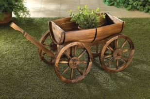 SKB Family Planter Wagon Apple Barrel Wood Garden Rustic Decor Outdoor Country Wheel Cart Old New Fir Style Stand by SKB family