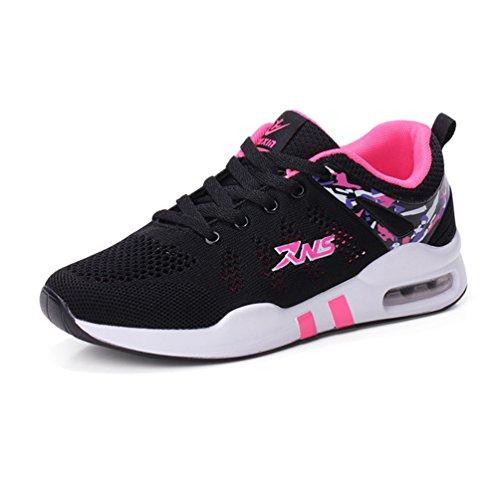 婦人靴 スニーカー ウォーキング メッシュ 厚底靴 花柄 レースアップ エアクッション スポーツシューズ ランニング クッション性 走れる アウトドア 柔らかい ファッション 軽量 通気性 黒 23.0CM-25.0CM