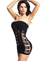 Womens Mesh Chemise Dress Fishnet Lingerie Babydoll Nighties Minidress
