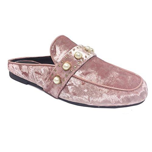 Oxford Flat Sandal Slip Women Pearl Loafer Mule Mauve Shoe Velvet On SNJ Slide qOwZpEgxf