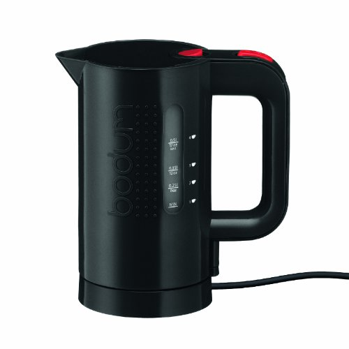 Bodum Bistro Electric Water Kettle, Plastic, 17 Ounce, .5 Liter, Black ()
