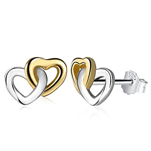 Twenty Plus Silver Gold Colored Heart To Heart Mini Stud Earrings Gifts For Girls & Women