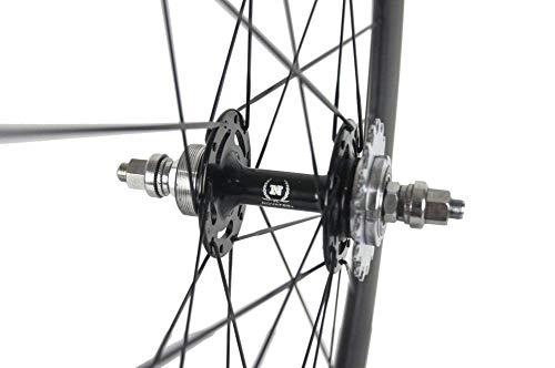 Superteam 38mm Carbon Fiber Track Wheel Matte Finish 3K Fixed Gear Wheelset Cog ()