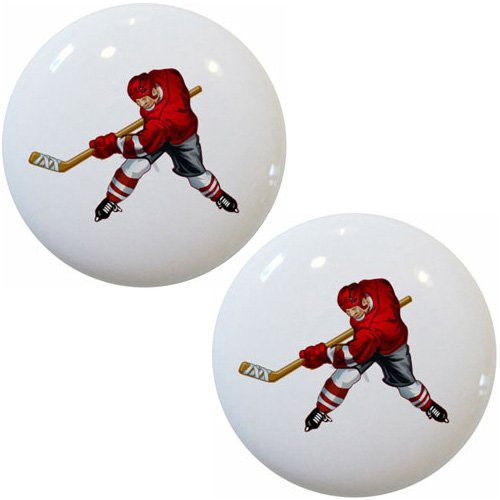 - Set of 2 Red Hockey Player Ceramic Cabinet Drawer Pull Knobs