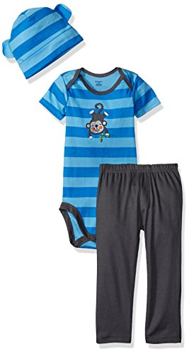 Gerber Baby Boys' 3 Piece Bodysuit, Cap and Pant Set, Monkey, 3-6 Months