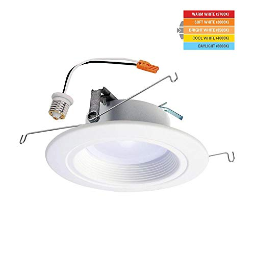 Halo RL56069S1EWHR RL 5 in. and 6 in. White Integrated Ceiling Light Selectable CCT (2700K-5000K), (665 Lumens) LED Recessed Trim