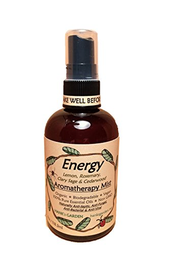 ENERGY Aromatherapy Body and Room Spray Mist - with Essential Oils of Lemon, Rosemary, Clary Sage & Cedarwood - EARTH FRIENDLY, Vegan, Organic, Biodegradable, Non GMO - (4 oz) (Cedarwood Sage)