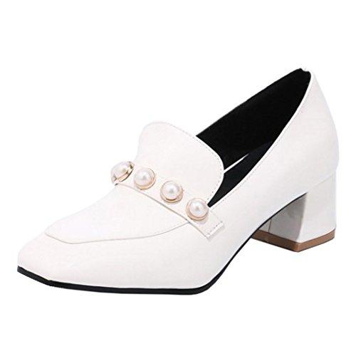 Coolcept Mujer Punta Cuadrada Bombas Zapatos White