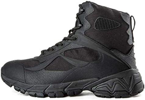男性のためのアンクルブーツショートチューブ軍事戦術的なブーツラバーソールレースアップスタイルハイトラクショングリップは、屋外ティンバーランドのための穿孔デニム (色 : 黒, サイズ : 26 CM)