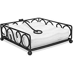 Home Basics Scroll Collection Flat Napkin Holder (Black)