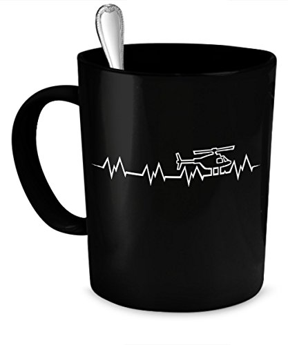 Heart Helicopter (Helicopter Heartbeat - Helicopter Pilot 11-oz Coffee Mug Cup Made of High-Fired Black Ceramic with Large Easy-Grip Handle is Microwave Oven and Dishwasher Safe)