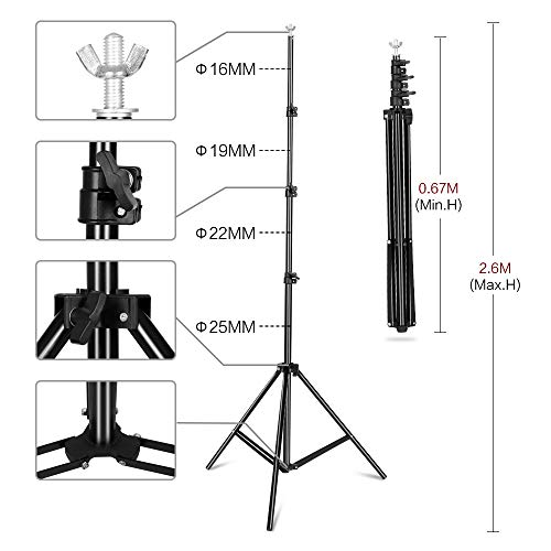 2.6 X 3M Adjustable Background Stand Background Support Kit Removable with Carry Bag for Hanging Background Cloth by SH (Image #1)