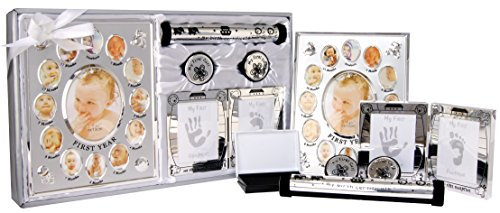 New 5 Piece Baby Keepsake Gift Set Suitable for Unisex, Boy, Girl, First Photo Frame, Curl and Tooth Box, Handprint Footprint Prints Kit. Available in Pink, Blue and Silver. (Shiny Silver)
