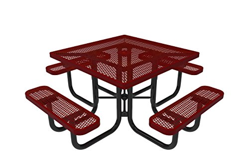 Coated Outdoor Furniture TSQ-RED Top Square Portable Picnic Table, 46-inch, Red