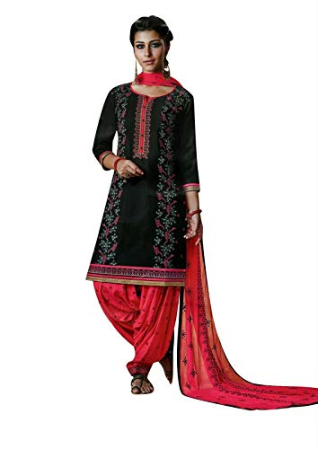 (Ladyline Cotton Embroidered Patiala Salwar Kameez with Chiffon Dupatta Indian Women's Dress (Size_54/)