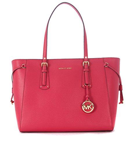 Borsa shopping Michael Kors Voyager in pelle ultra pink