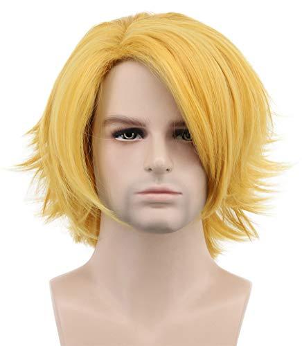 Karlery Men Short Wave Gold Wig Halloween Costume Wig Anime Cosplay Wig]()