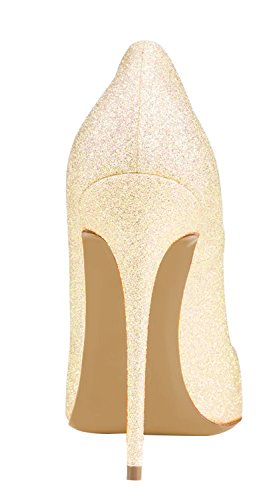 Grande Taille Guoar Femmes Bout Pointu Stiletto Paillettes Talons Hauts Pompes Chaussures Pour La Fête De Mariage A-jaune