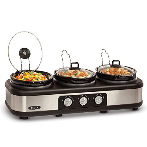 BELLA Triple Slow Cooker and Buffet Server, 3 x1.5 QT Manual Stainless Steel by BELLA (Image #2)