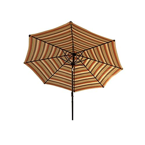 Bliss Hammocks Green Striped Umbrella With Tilt, 9u0027