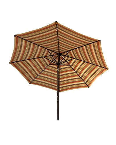 Bliss Hammocks UMB-485 Patio Umbrella with Tilt, Green Stripes, 9 Feet - Polyester canopy that is UV color fade resistant; has water repellent coating to resist the elements Turn the smooth-action crank to easily lift and close the canopy Sturdy but lightweight aluminum pole and frame make it easy to lift in and out of a stand - shades-parasols, patio-furniture, patio - 41VUFIXUoOL -