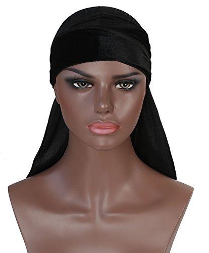 Boo Cap (Velvet Durag Doo Du Rag – Black Colored Mane Du-rag Cap Hat Men Smooth and Thick Cold Label Boo Boo Waves Deluxe Dorag Cap Silky)
