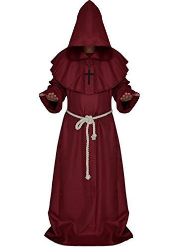 VERNASSA Medieval Monk Robe Priest Robe Halloween Cosplay Costume Cloak Red -