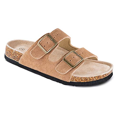 TF STAR Women's Arizona Cow Suede Leather Flat Sandals,2-Strap Adjustable Buckle,Casual Slippers,Slide Cork Footbed Shoes for Women/Ladies/Girls Tan