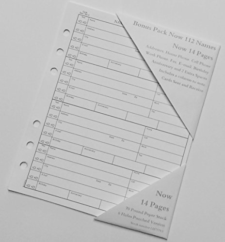 Address Book Refill 14 Pages fits Hallmark 5 3/4 x 7 inches ADD1013 also other 6 Ring Books (Address Book Refills)