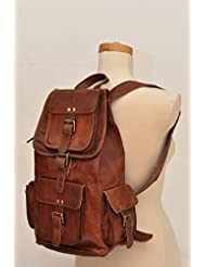 HLC 20 Genuine Leather Retro Rucksack Backpack College Bag,School Picnic Bag Travel