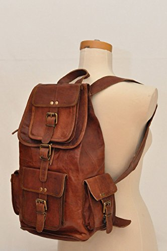 "HLC 20"" Genuine Leather Retro Rucksack Backpack College Bag,School Picnic Bag Travel"