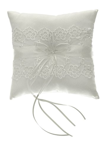 DivaDesigns Lace Organza Crystal Square Wedding Ring Pillow -