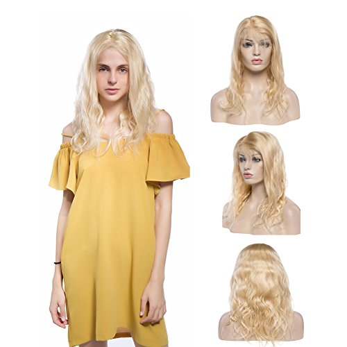 Glueless Human Hair Lace Front Wig With Baby Hair Curly Bleach Blonde #613 Virgin Brazilian Human Hair Lace Wig Natural Hairline Free Part 130% Density Wavy Body Wave 18'' ()