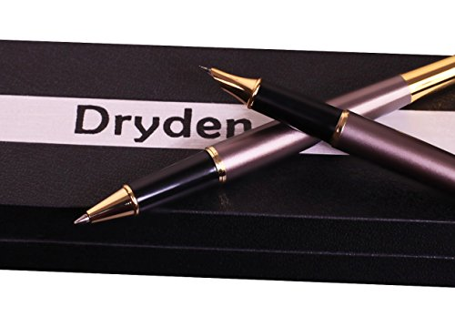 Dryden Luxury Fountain Pen & Ballpoint Pen Twin Set [Chocolate Brown] with Gift Case | Fine Nib | Executive Fountain Pens Set | Ink Refill Converter | Business Gift Pen | Luxury Pens Collection
