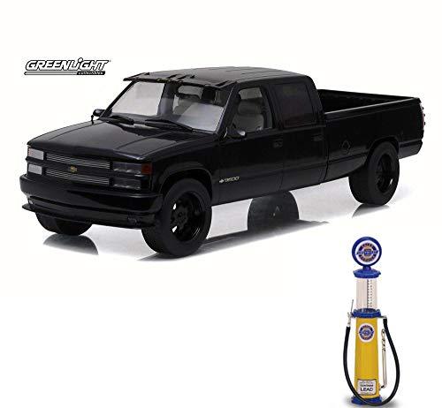 (Greenlight Chevy Diecast Car & Gas Pump Package - 1997 Custom Chevy C-3500 Crew Cab Silverado Pickup Truck, Black 19016 - 1/18 Scale Diecast Model Toy Car w/Gas Pump)