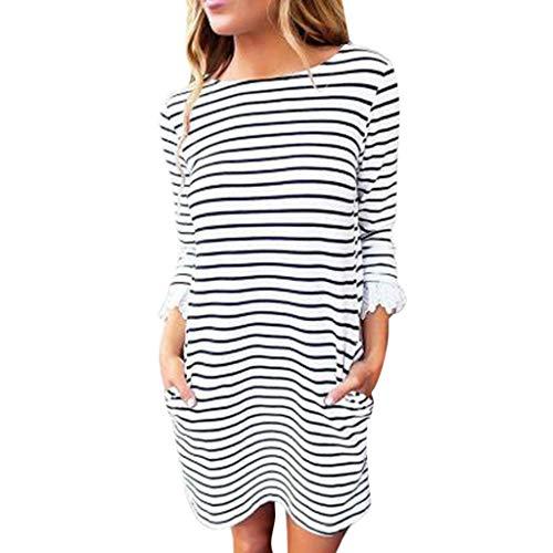 (Willow S Fashion Women Casual Striped Print with Lace Cuff Three Quarter Sleeve Mini Sundress Dress)