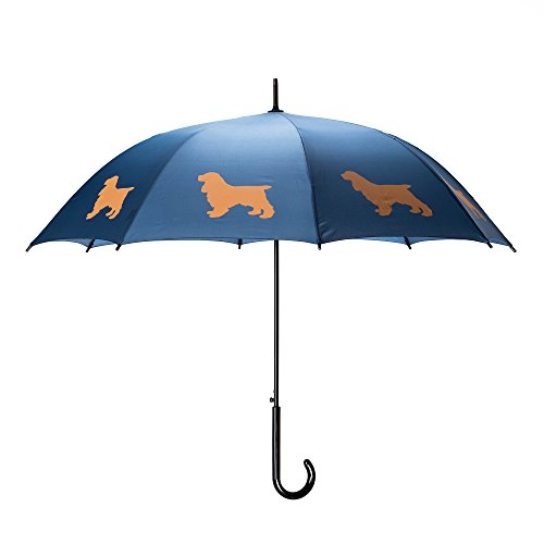 Spaniel Umbrella - The San Francisco Umbrella Company Cocker Spaniel Stick Umbrella, Navy Blue/beige