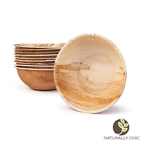 "Naturally Chic 6"" Round Disposable Palm Leaf Bowls - 25 Pack - Small Dinnerware Set - Eco-Friendly, Biodegradable & Compostable - Ideal for Weddings, Parties, Home Use, Events"