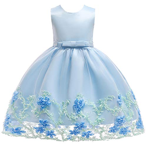 Flower Girl Dress Party Dresses for Girls Wedding Sleeveless Silk Chiffon Bow Tie Baby Tutu Lace Ball Gown Blue