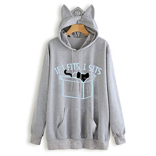 (FORUU Women's Cat Hoodies, Cute Printed Winter Pocket Cat Hooded Pullover Sweater)
