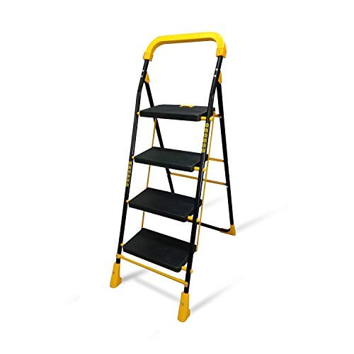 TRENDY Cameo 4 Step Heavy and Foldable Ladder with Wide Steps and Anti Skid Shoes for Home and Kitchen use (Yellow) | 4 feet